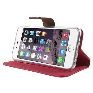 Peňaženkové koženkové puzdro pre iPhone 6s a 6 - rose - 4