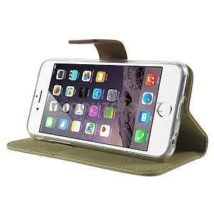 Peňaženkové koženkové puzdro na iPhone 6s a 6 - khaki - 4