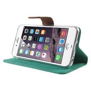 Peňaženkové koženkové puzdro na iPhone 6s a 6 - zelené - 4