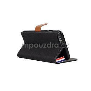 Látkové / koženkové peňaženkové puzdro na iphone 6s a 6 - čierne - 4