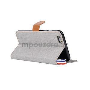 Látkové / koženkové peňaženkové puzdro pre iphone 6s a 6 - sivé - 4