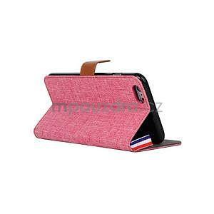 Látkové / koženkové peňaženkové puzdro pre iphone 6s a 6 - ružové - 4