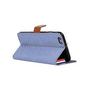 Látkové / koženkové peňaženkové puzdro na iphone 6s a 6 - svetlomodré - 4