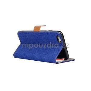 Látkové / koženkové peňaženkové puzdro na iphone 6s a 6 - modré - 4