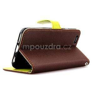 PU kožené peňaženkové puzdro pre iPhone 6s a 6 - hnedé - 4