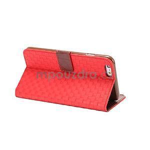 Mriežkovaného koženkové puzdro pre iPhone 6 a iPhone 6s - červené - 4