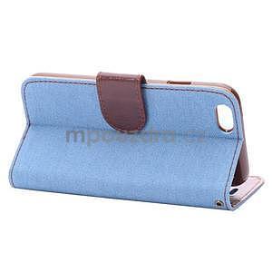 Jeans látkové/pu kožené peňaženkové puzdro na iPhone 6 a 6s - svetlomodré - 4