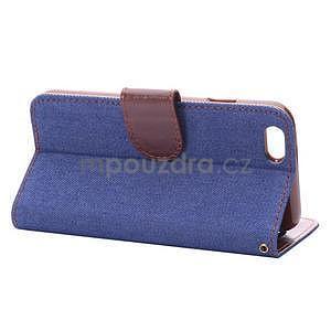 Jeans látkové/pu kožené peňaženkové puzdro pre iPhone 6 a 6s - modré - 4