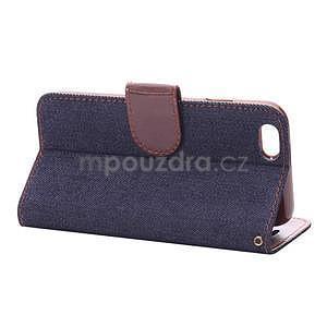 Jeans látkové/pu kožené peňaženkové puzdro na iPhone 6 a 6s - tmavomodré - 4