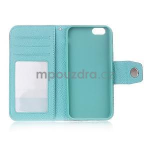 Dvojfarebné peňaženkové puzdro pre iPhone 6 a iPhone 6s - rose/cyan - 4