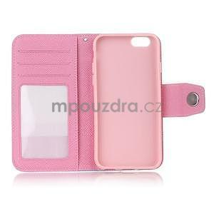 Dvojfarebné peňaženkové puzdro pre iPhone 6 a iPhone 6s - ružové/biele - 4