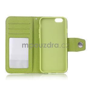 Dvojfarebné peňaženkové puzdro pre iPhone 6 a iPhone 6s - zelené/ žlté - 4