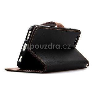 PU kožené peňaženkové puzdro pre iPhone 6s a 6 - čierne - 4