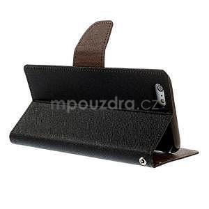 Peňaženkové puzdro pre iPhone 6 Plus a 6s Plus -  čierne/hnedé - 4