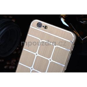 Štýlový kryt s kovovými chrbtom pre iPhone 6 Plus a 6s Plus - champagne - 4
