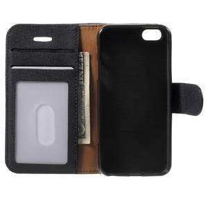 Cloth PU kožené puzdro pre iPhone SE / 5s / 5 - čierne - 4