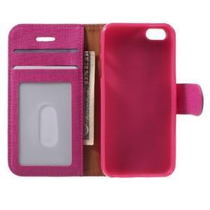 Cloth PU kožené puzdro pre iPhone SE / 5s / 5 - rose - 4