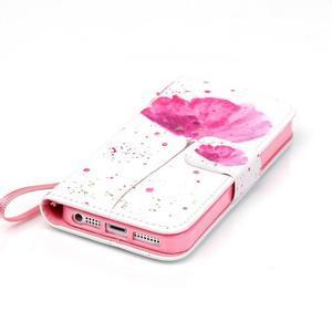 Peňaženkové puzdro pre mobil iPhone SE / 5s / 5 - makový kvet - 4