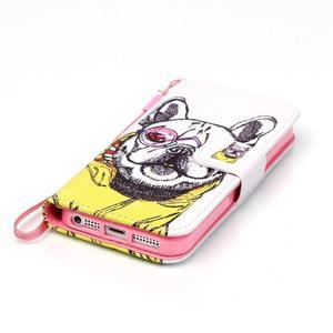 Peňaženkové puzdro pre mobil iPhone SE / 5s / 5 - buldog - 4