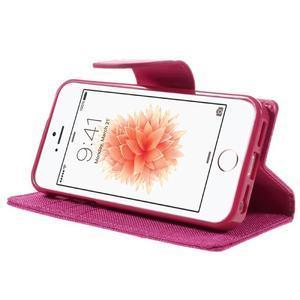 Canvas PU kožené/textilní pouzdro na mobil iPhone SE / 5s / 5 - rose - 4
