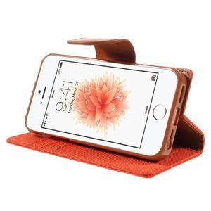 Canvas PU kožené/textilní pouzdro na mobil iPhone SE / 5s / 5 - oranžové - 4