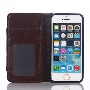 Jeans peňaženkové puzdro pre mobil iPhone SE / 5s / 5 - tmavomodré - 4