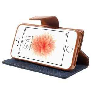 Canvas PU kožené/textilné puzdro pre mobil iPhone SE / 5s / 5 - tmavomodré - 4