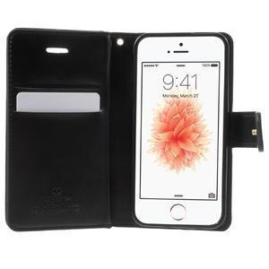 Extrarich PU kožené puzdro pre iPhone SE / 5s / 5 - čierne - 4