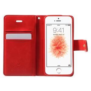 Extrarich PU kožené puzdro pre iPhone SE / 5s / 5 - červené - 4