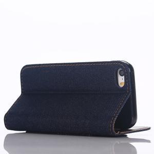 Jeans peňaženkové puzdro pre mobil iPhone SE / 5s / 5 - čiernomodré - 4