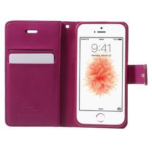 Extrarich PU kožené pouzdro na iPhone SE / 5s / 5 - magneta - 4