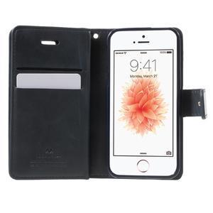 Extrarich PU kožené puzdro pre iPhone SE / 5s / 5 - tmavomodré - 4