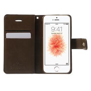 Extrarich PU kožené pouzdro na iPhone SE / 5s / 5 - tmavěhnědé - 4
