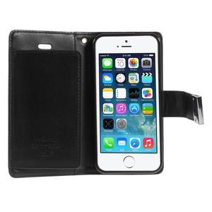 Rich diary PU kožené pouzdro na iPhone SE / 5s / 5 - černé - 4