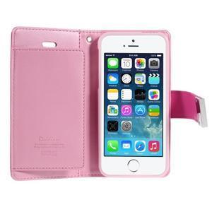 Rich diary PU kožené pouzdro na iPhone SE / 5s / 5 - rose - 4