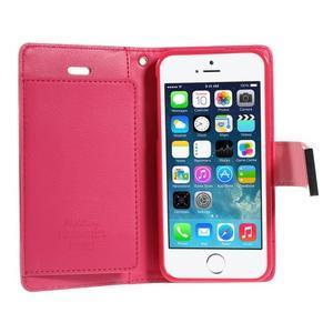 Rich diary PU kožené puzdro pre iPhone SE / 5s / 5 - ružové - 4