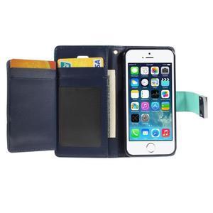 Rich diary PU kožené puzdro pre iPhone SE / 5s / 5 - azurové - 4