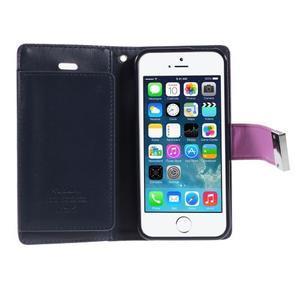 Rich diary PU kožené pouzdro na iPhone SE / 5s / 5 - fialové - 4