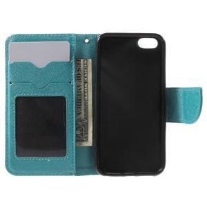 Cross PU kožené pouzdro na iPhone SE / 5s / 5 - modré - 4