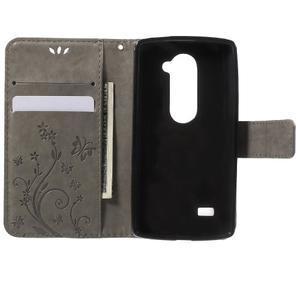 Buttefly PU kožené pouzdro na mobil LG Leon - šedé - 4