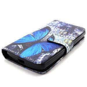 Style peňaženkové puzdro pre LG Leon - modrý motýľ - 4
