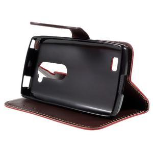 Leaf PU kožené pouzdro na mobil LG Leon - červené - 4