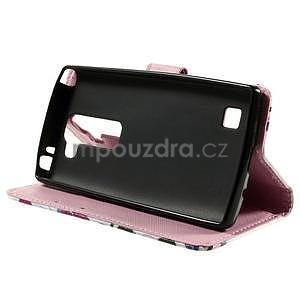 Peňaženkové puzdro na LG Spirit - fialové kvety - 4