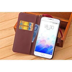 Knížkové PU kožené puzdro pre mobil Meizu MX5 - červené - 4