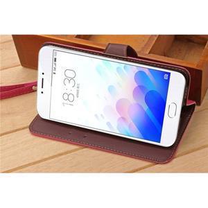 Knížkové PU kožené pouzdro na mobil Meizu MX5 - rose - 4
