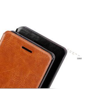 Vintage PU kožené puzdro s kovovou výstuhou pre Meizu MX5 -  hnedé - 4
