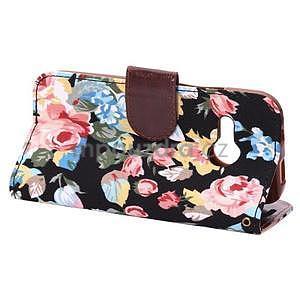 Kvetinové peňaženkové púzdro na HTC One Mini 2 - čierne - 4