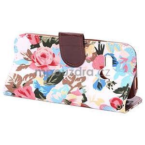 Kvetinové peňaženkové púzdro na HTC One Mini 2 - biele - 4