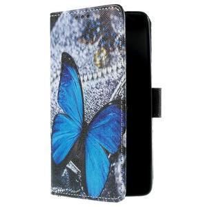 Cross peňaženkové puzdro na Xiaomi Mi4 - modrý motýl - 4