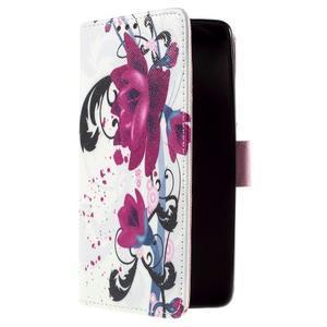 Cross peňaženkové puzdro na Xiaomi Mi4 - fialové květy - 4